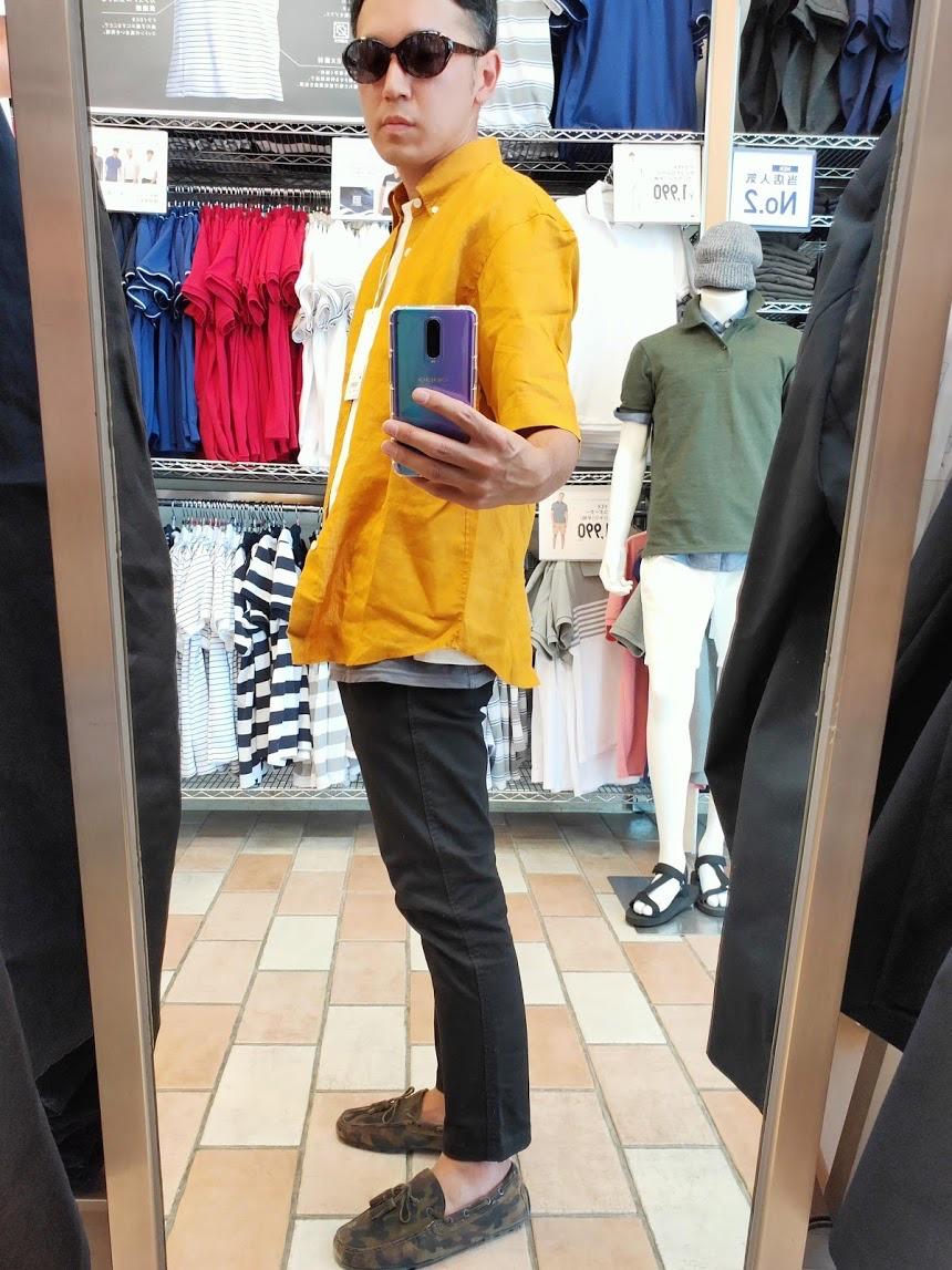 ユニクロUリネンワイドシャツサイズM左サイドイエロー
