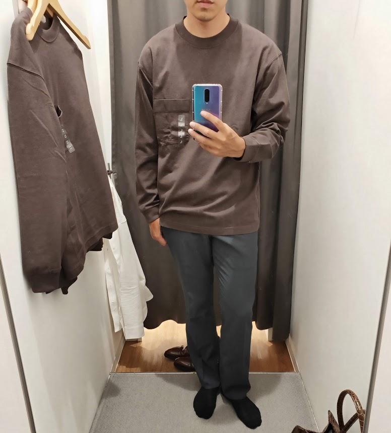 ユニクロUクルーネックロングTシャツサイズL前2