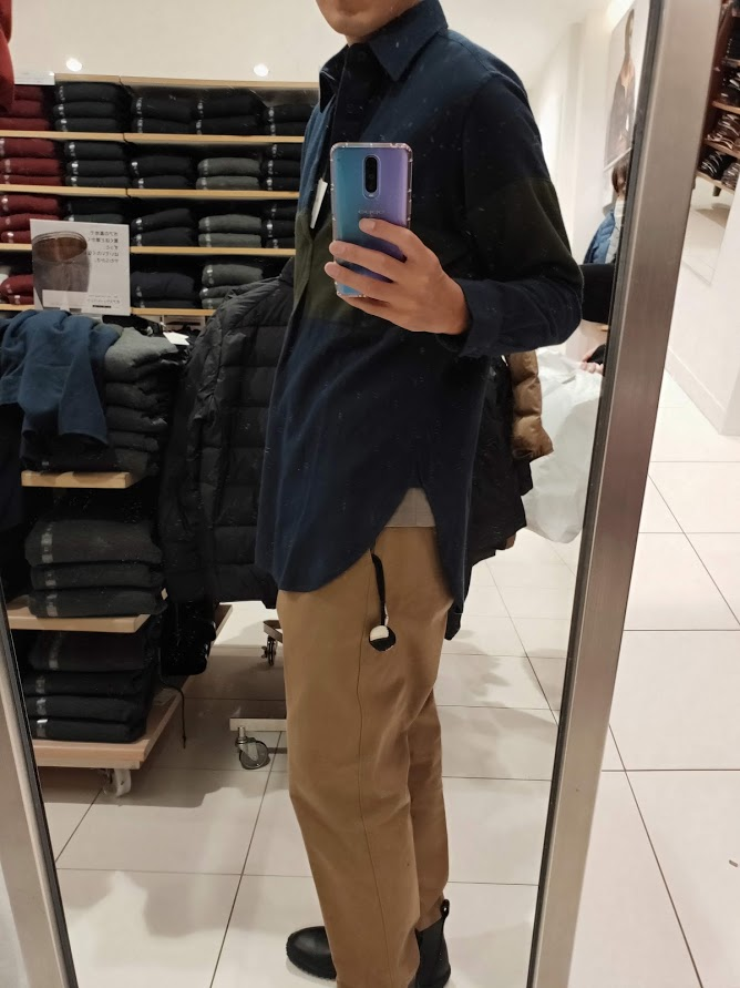 JWアンダーソンフランネルプルオーバーシャツのネイビーS横