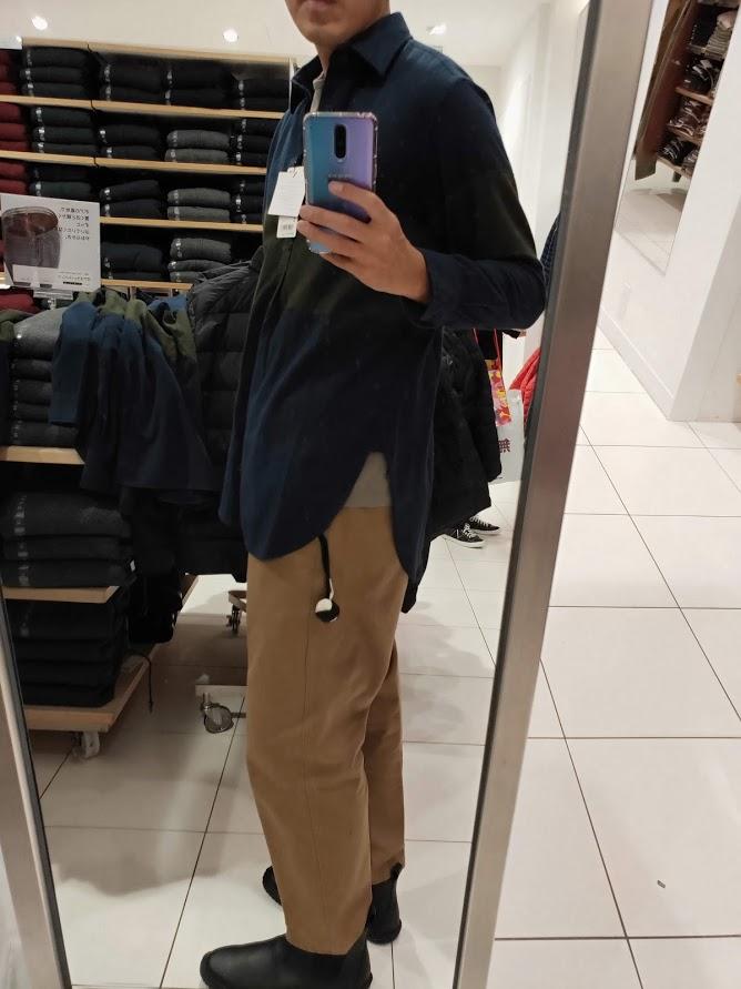 JWアンダーソンフランネルプルオーバーシャツのネイビーM横