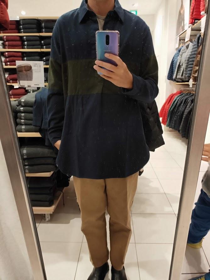 JWアンダーソンフランネルプルオーバーシャツのネイビーL前