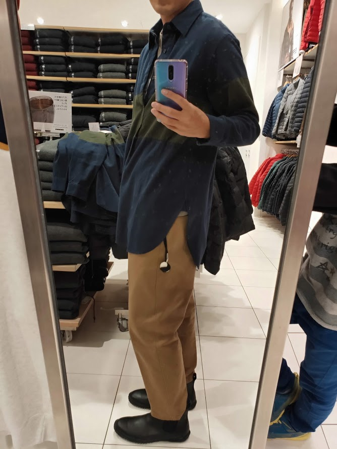 JWアンダーソンフランネルプルオーバーシャツのネイビーL横