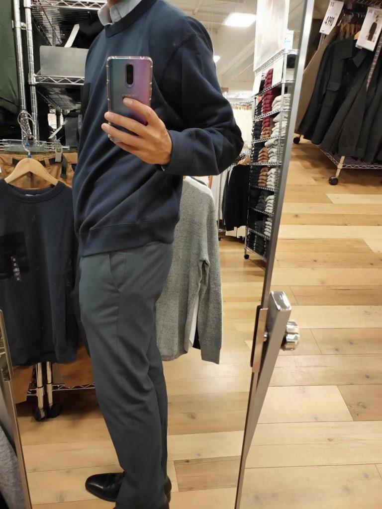 JWアンダーソンスウェットシャツのネイビーサイズL横