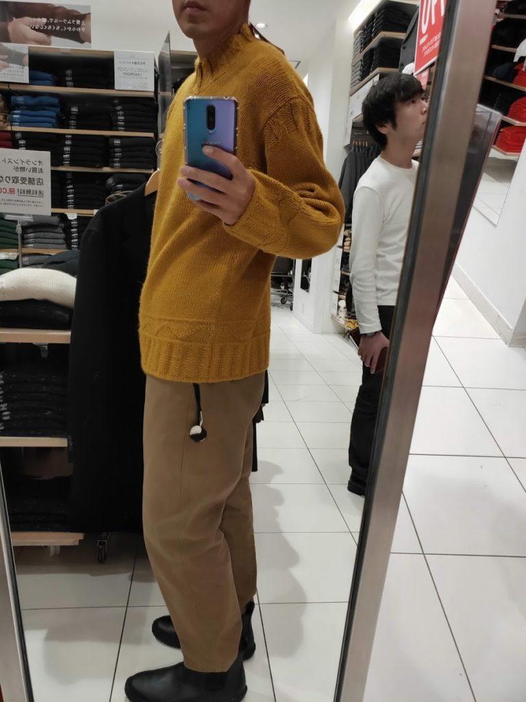 JWアンダーソンローゲージクルーネックセーターのイエローL横