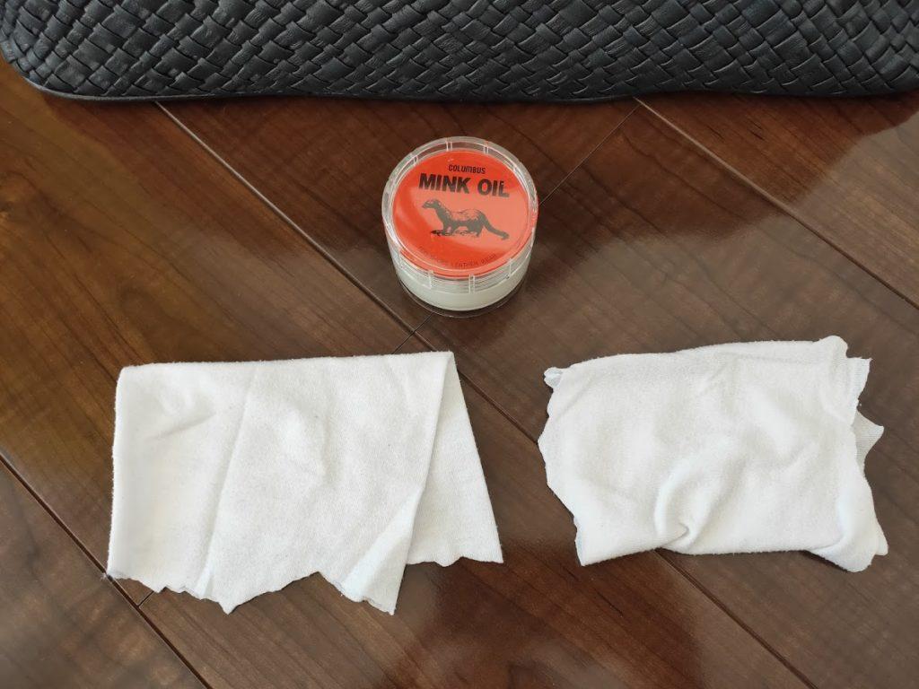ミンクオイルと二つの布