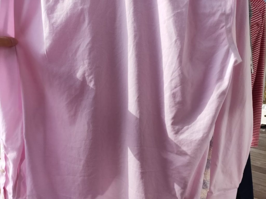 ユニクロファインクロススーパーノンアイロンシャツの洗濯3時間後2
