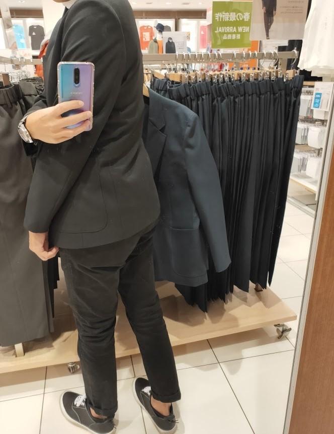 テーラードジャケットブラックM後ろ