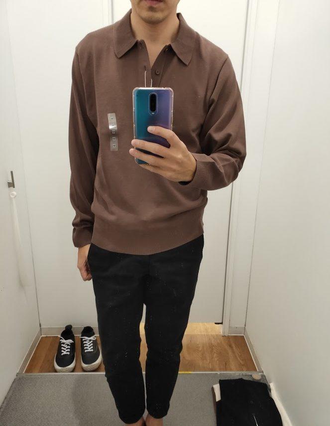 ニットポロシャツ茶色M前