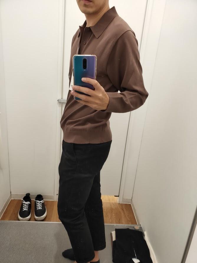 ニットポロシャツ茶色M横