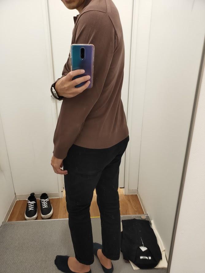 ニットポロシャツ茶色M後ろ