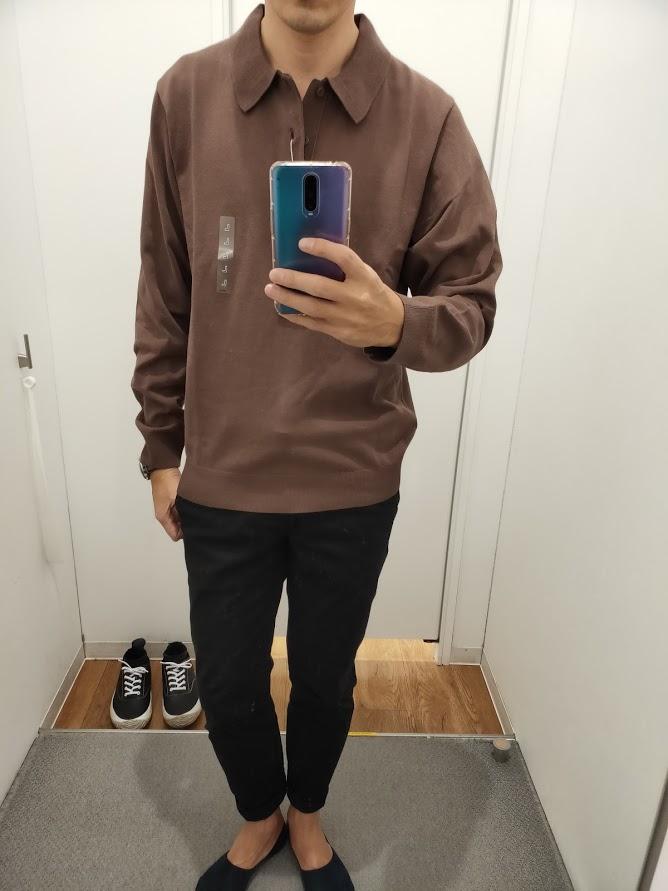 ニットポロシャツ茶色L前