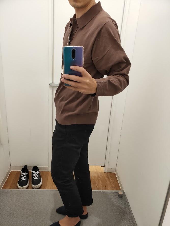 ニットポロシャツ茶色L横