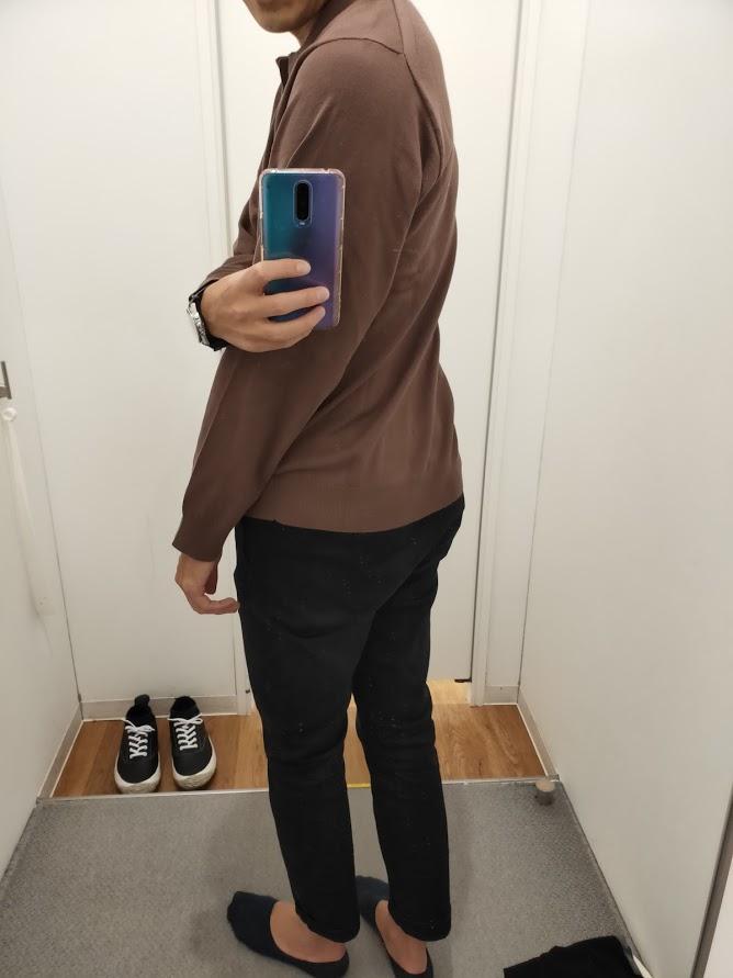 ニットポロシャツ茶色L後ろ