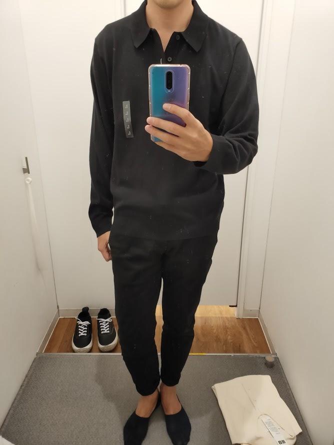 ニットポロシャツ黒L前