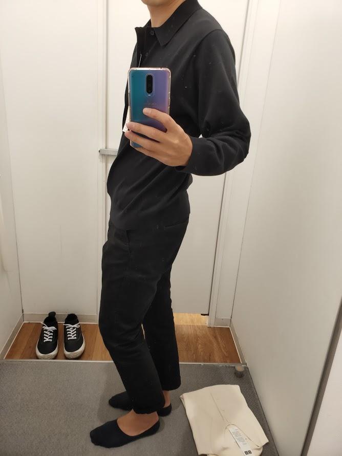 ニットポロシャツ黒L横
