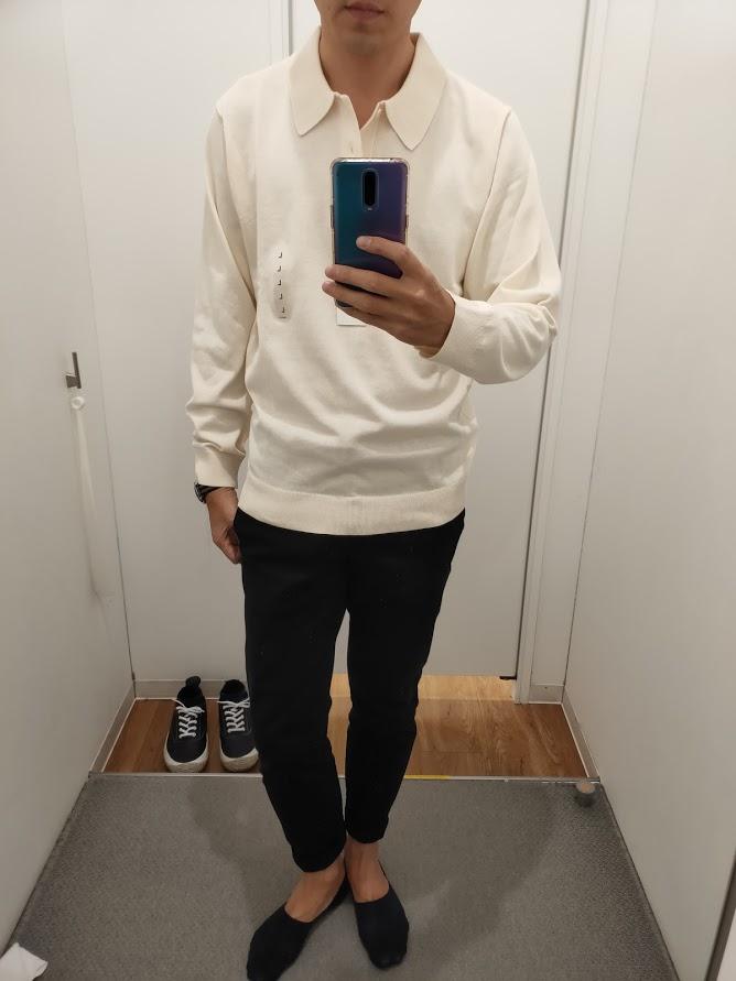 ニットポロシャツ白L前