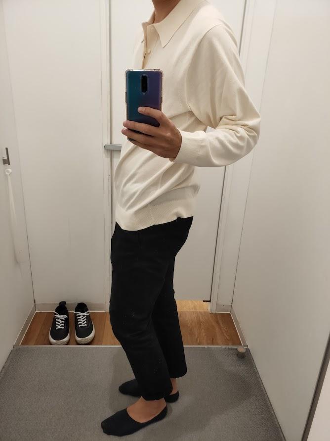 ニットポロシャツ白L横
