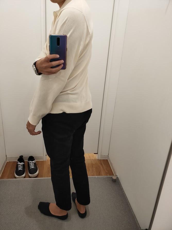 ニットポロシャツ白L後ろ
