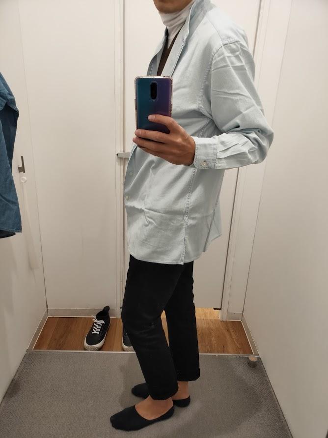 デニムスタンドカラーシャツライトブルーL横