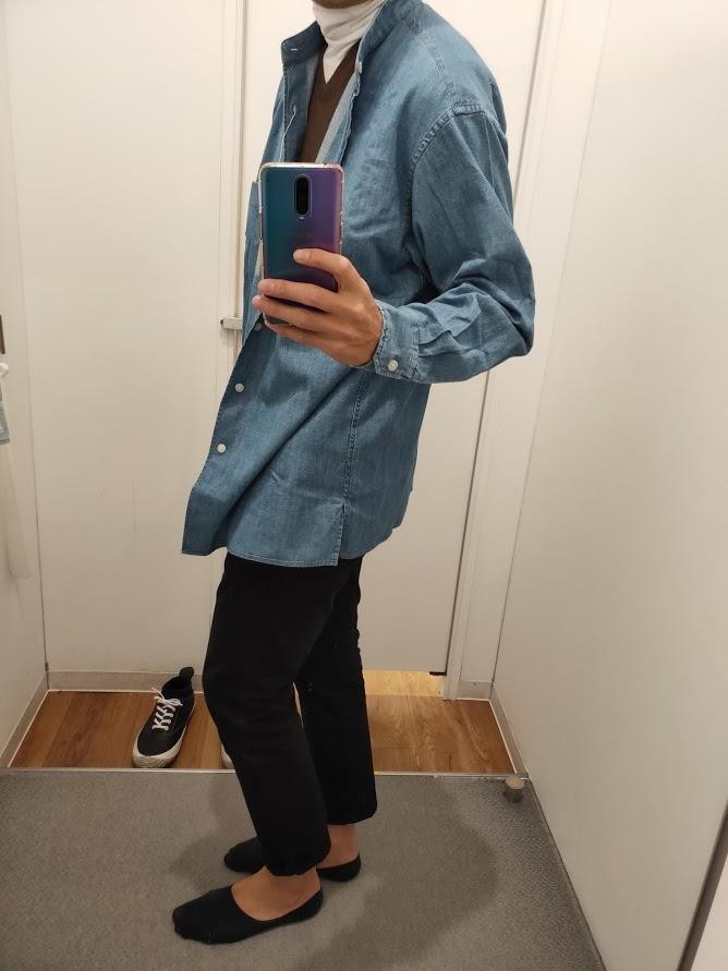 デニムスタンドカラーシャツブルーL横