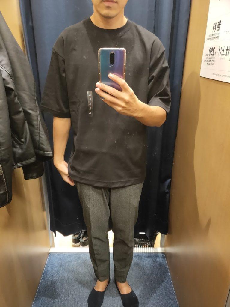 エアリズムオーバーサイズTシャツ黒L前