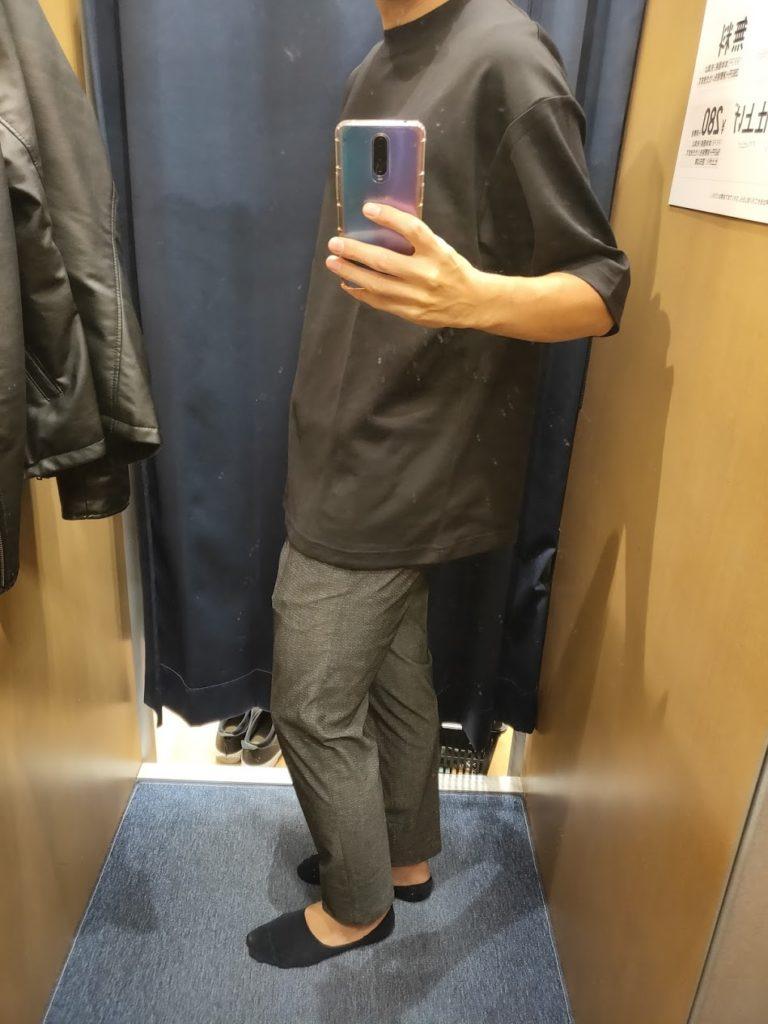 エアリズムオーバーサイズTシャツ黒XL横