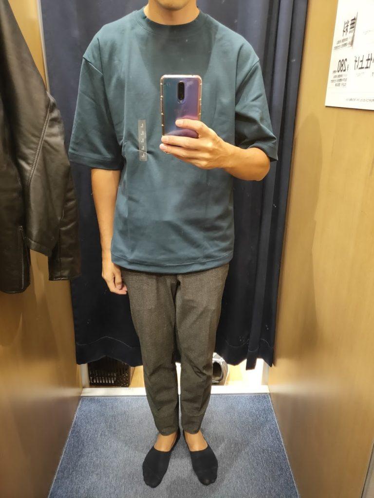 エアリズムオーバーサイズTシャツ青L前