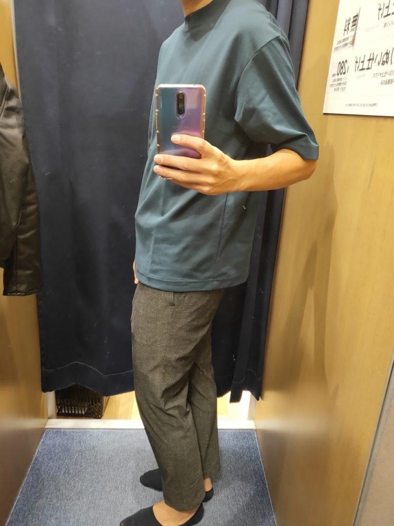 エアリズムオーバーサイズTシャツ青L横