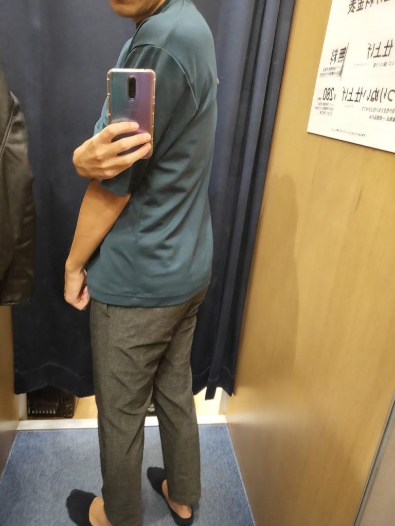 エアリズムオーバーサイズTシャツ青L後ろ