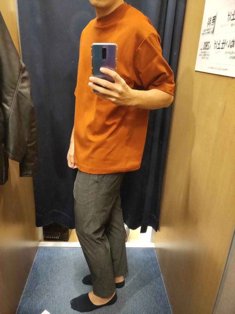 エアリズムオーバーサイズTシャツダークオレンジL横