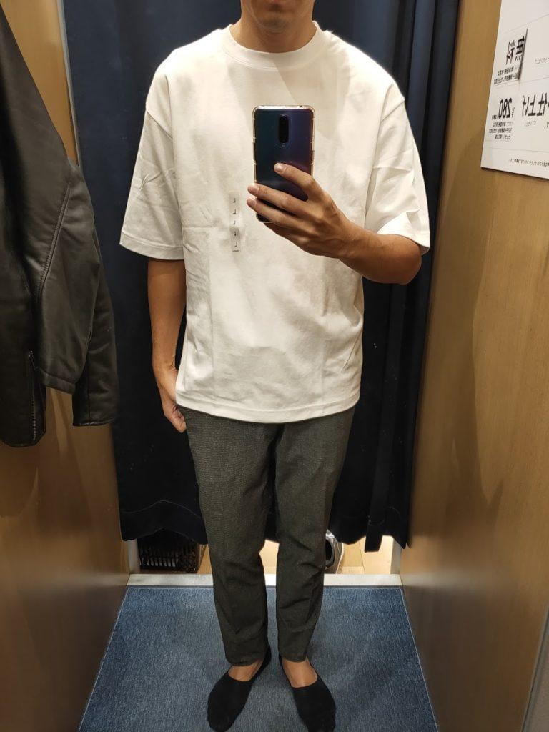 エアリズムオーバーサイズTシャツ白L前