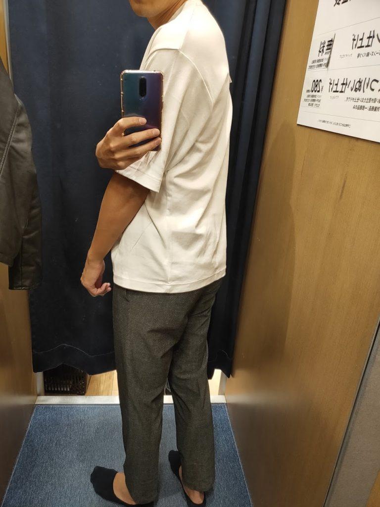 エアリズムオーバーサイズTシャツ白後ろ