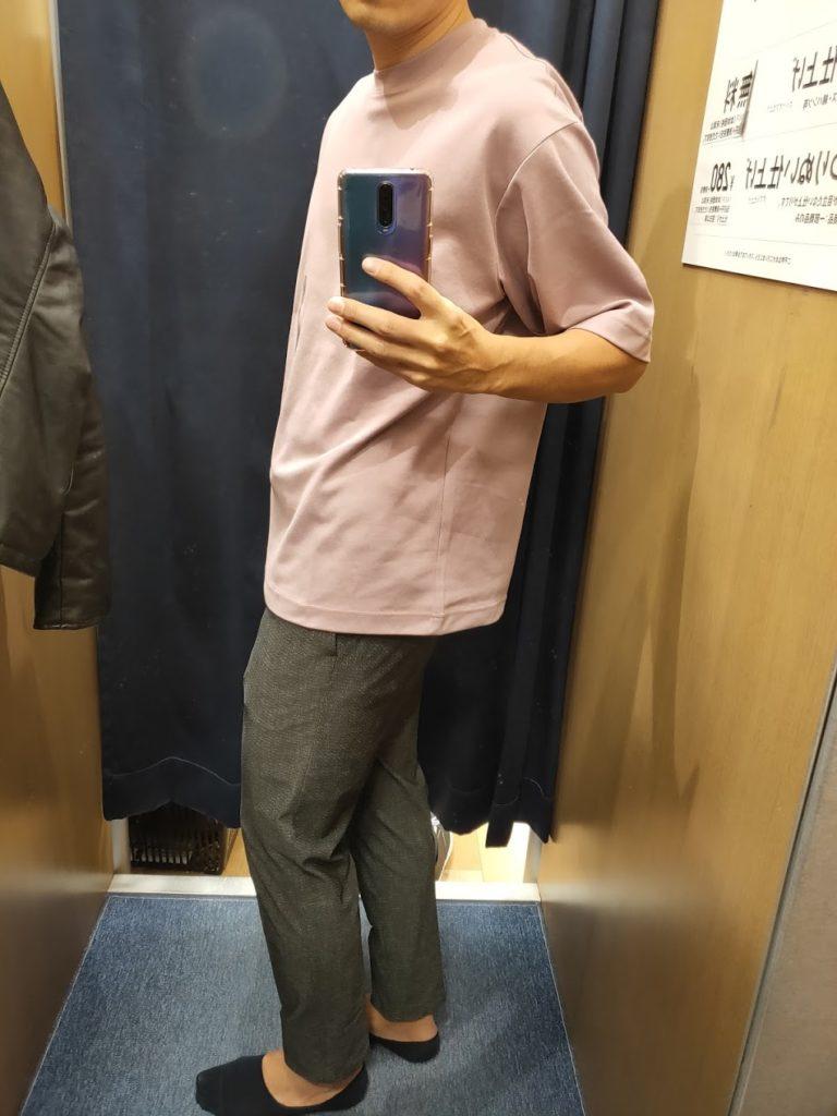 エアリズムオーバーサイズTシャツパープルL横