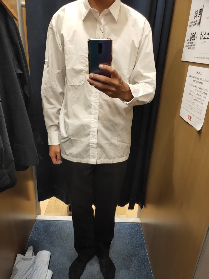 エクストラファインコットンブロードオーバーサイズシャツ白M前