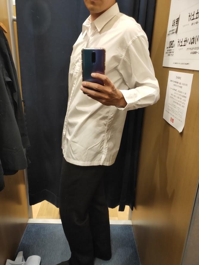 エクストラファインコットンブロードオーバーサイズシャツ白M横