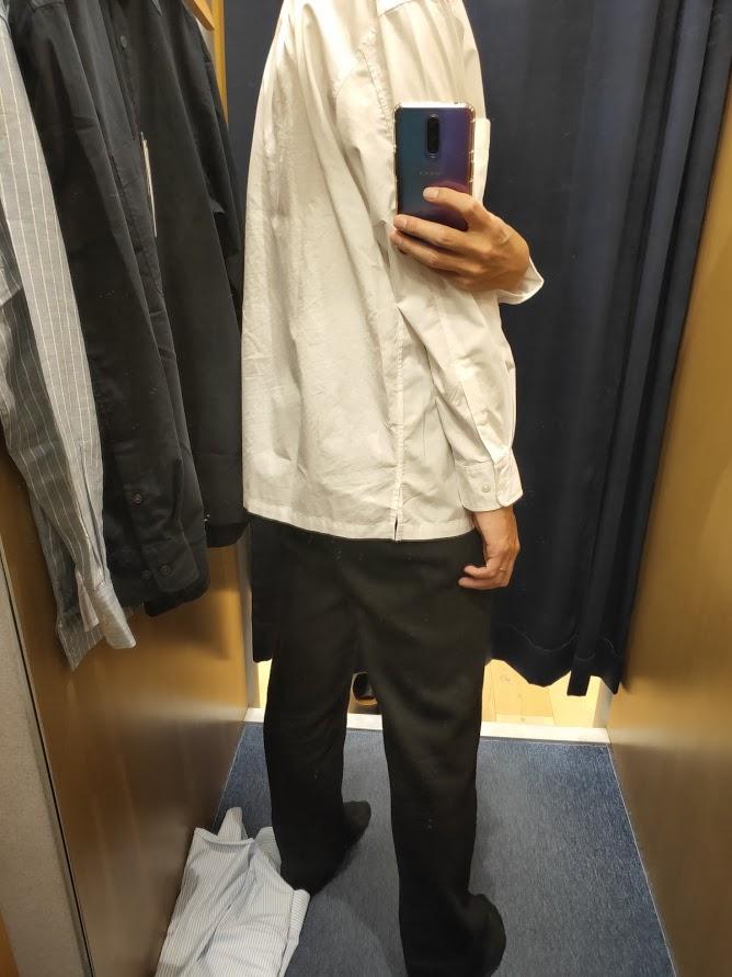 エクストラファインコットンブロードオーバーサイズシャツ白M後ろ