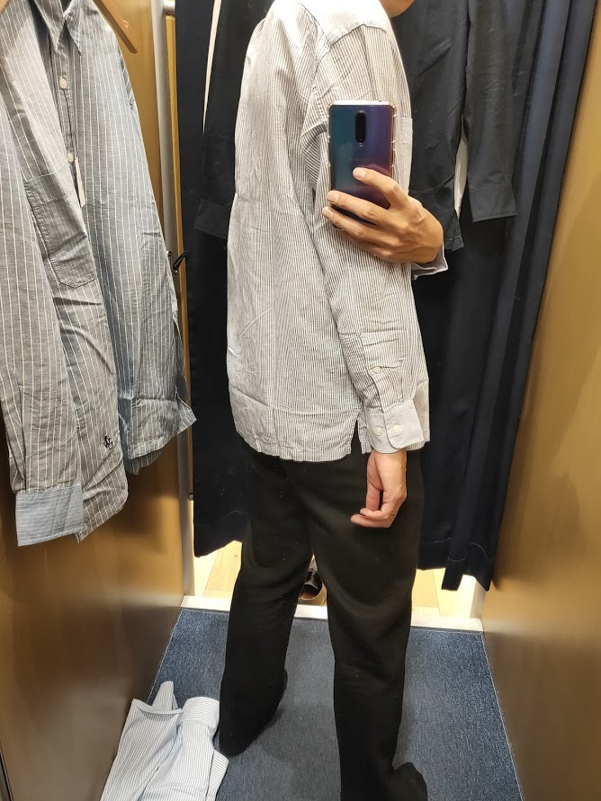リネンブレンドオーバーサイズシャツ62ブルーM後ろ