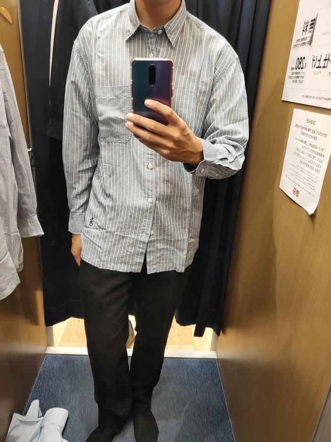 リネンブレンドオーバーサイズシャツ64ブルーM前