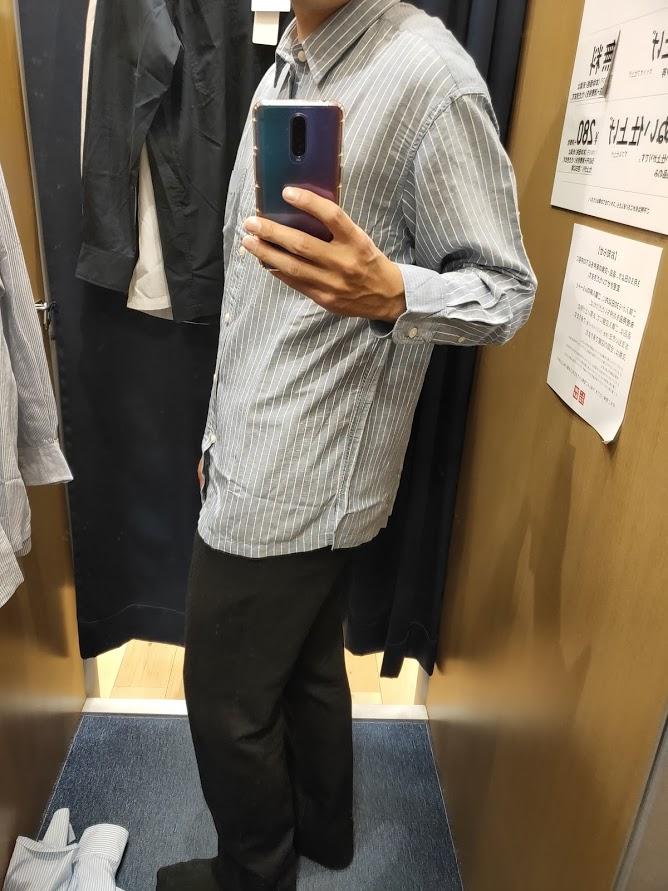 リネンブレンドオーバーサイズシャツ64ブルーM横