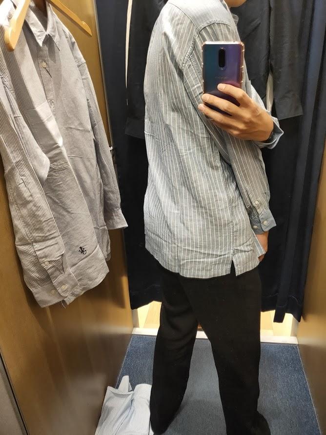 リネンブレンドオーバーサイズシャツ64ブルーM後ろ