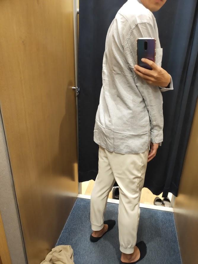 リネンブレンドオーバーサイズシャツ62ブルーL後ろ