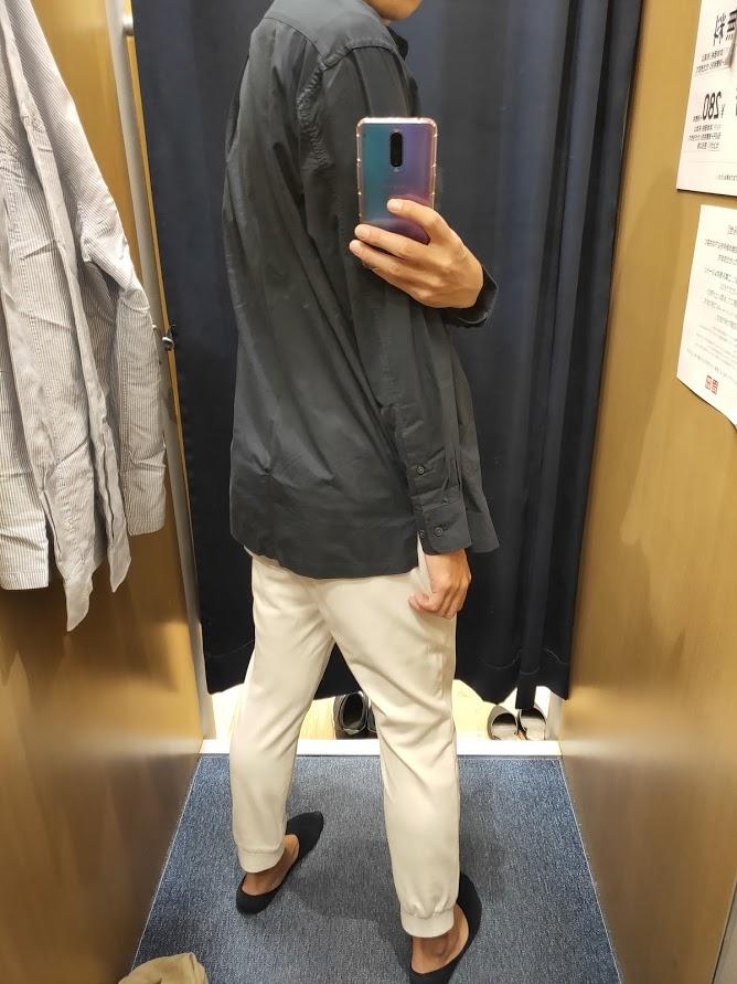 エクストラファインコットンブロードオーバーサイズシャツネイビーL後ろ
