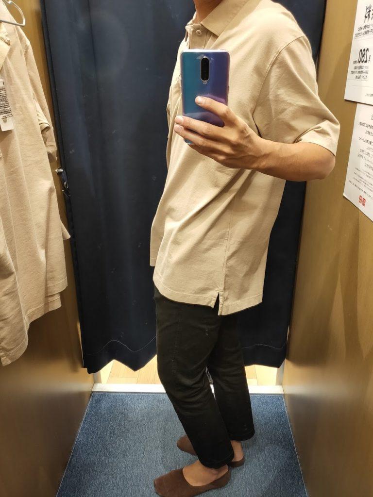 オーバーサイズジャージーポロシャツのナチュラルXL横