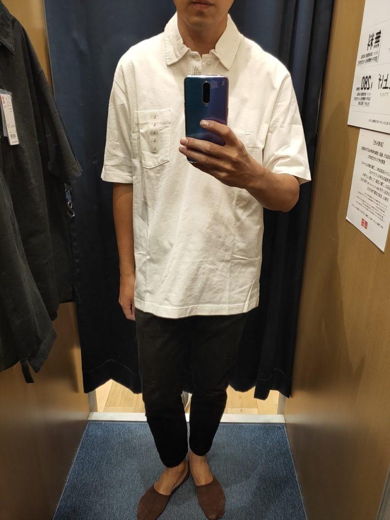 オーバーサイズジャージーポロシャツのオフホワイトL前