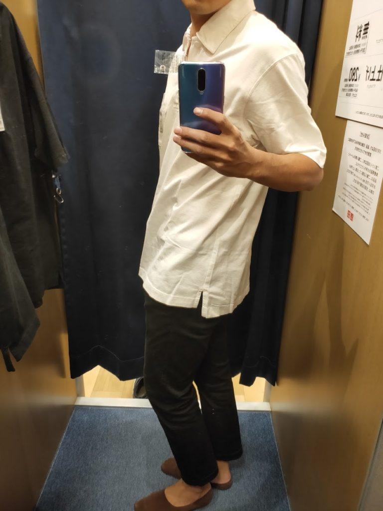 オーバーサイズジャージーポロシャツのオフホワイトL横