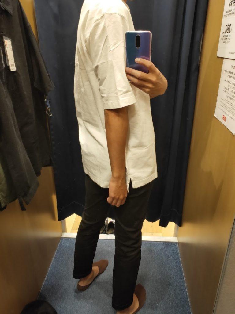 オーバーサイズジャージーポロシャツのオフホワイトL後