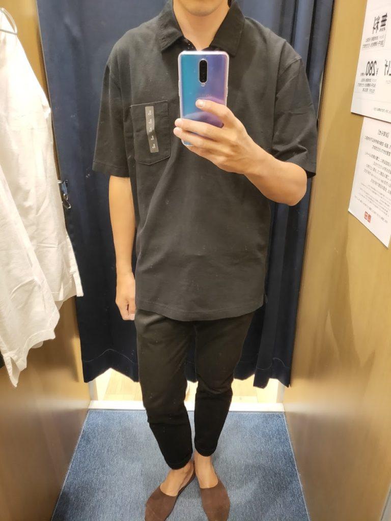 オーバーサイズジャージーポロシャツのブラックL前