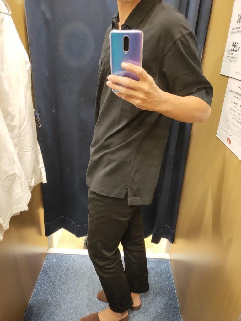 オーバーサイズジャージーポロシャツのブラックL横