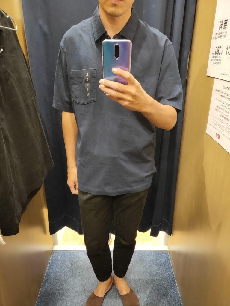 オーバーサイズジャージーポロシャツのブルーL前