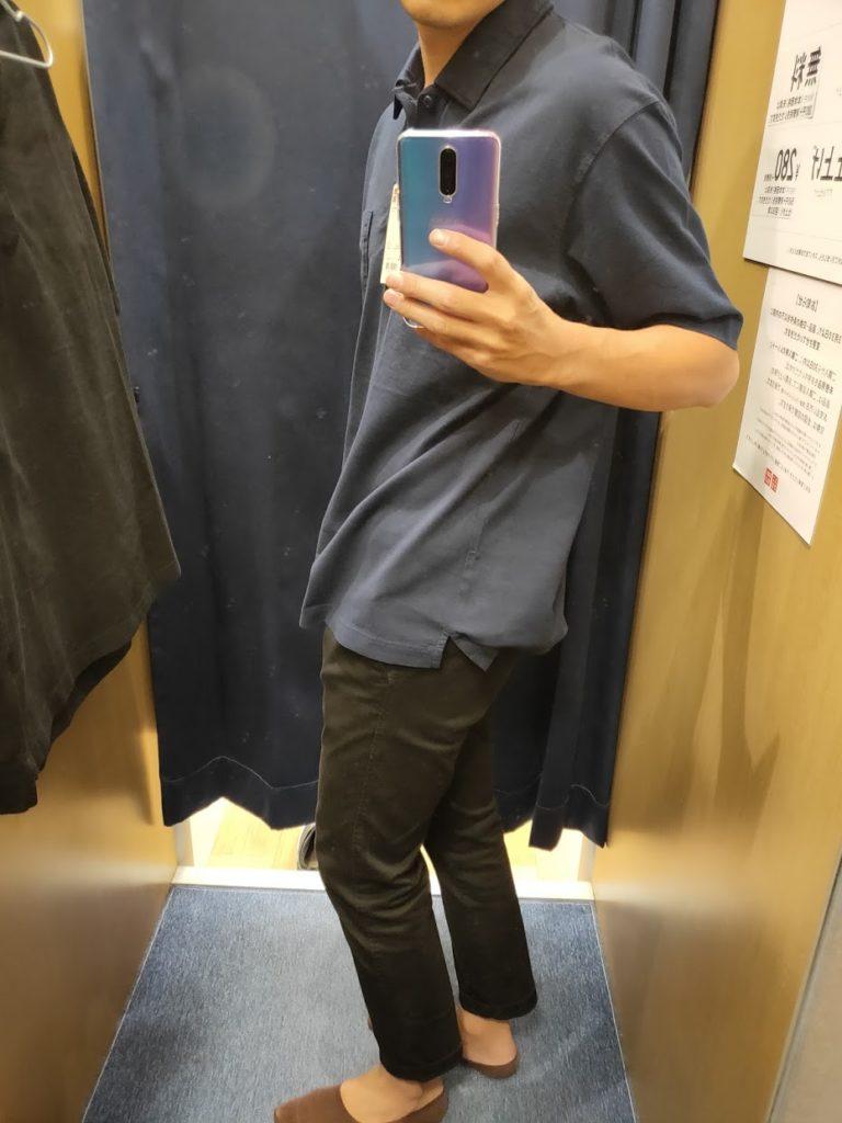 オーバーサイズジャージーポロシャツのブルーL横
